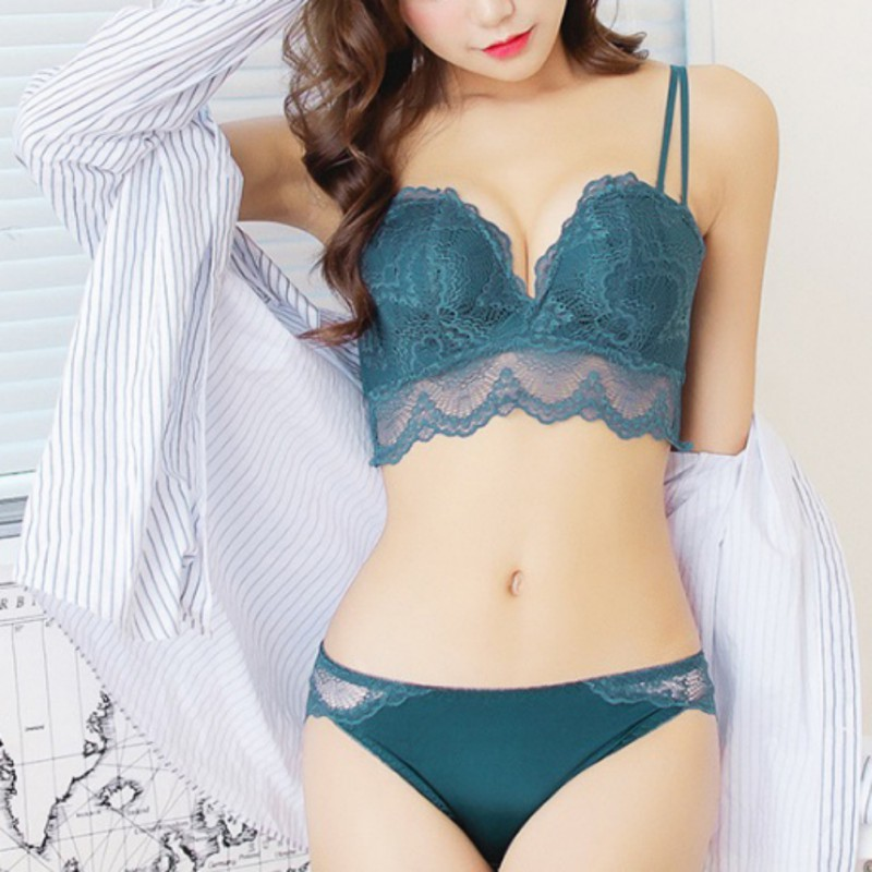Women Lace Push Up Padded   Bras     Brief     Sets   Sexy Gather Embroidery Push Up   Bra     Set