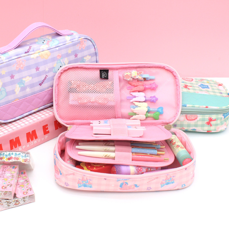 Kawaii Pencil Case Macaron Color High Capacity Pen Box Cute Pencil Bag School Supplies Stationery Organizer Make-up Tool Case