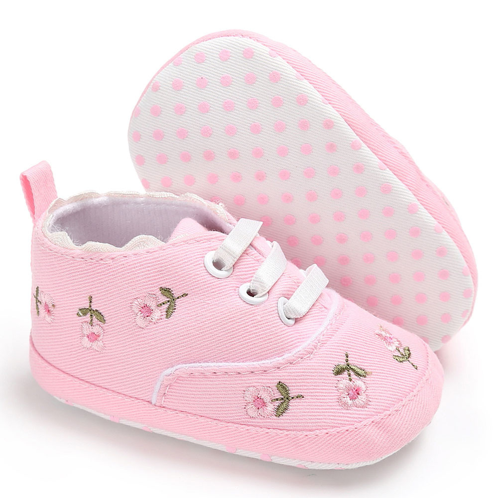 Newborn Infant Baby Girls shoes Floral Crib Shoes Soft Sole Anti-slip Sneakers Canvas Winter Slipper Children for 0- 18M