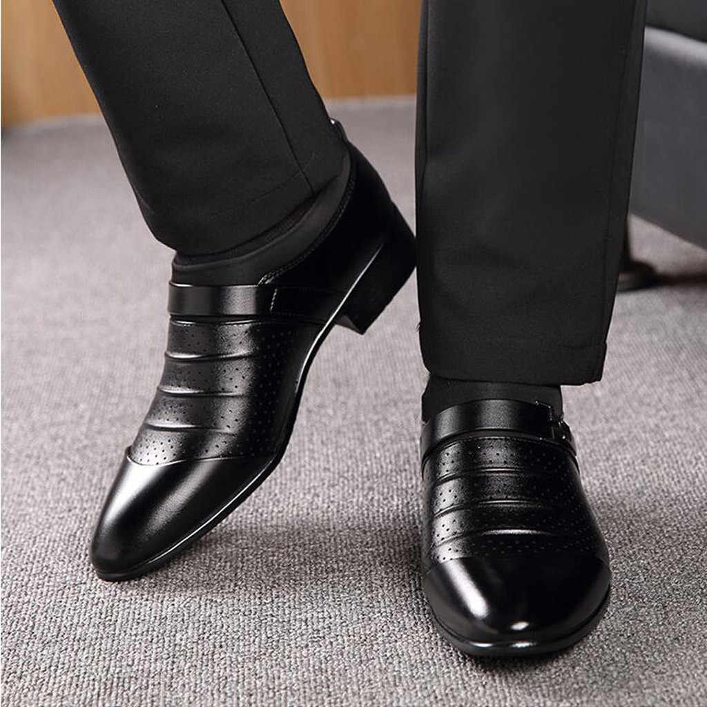 Men's Business Dress Pointed Leather Shoes Casual Breathable Sandals Lazy Shoes