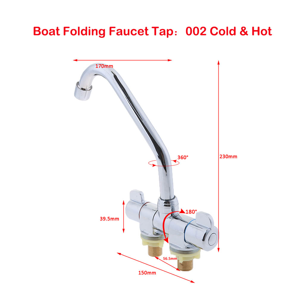 Marine Boat RV 360 Degree Rotation Hot Cold Bathroom Kitchen Water Faucet 002