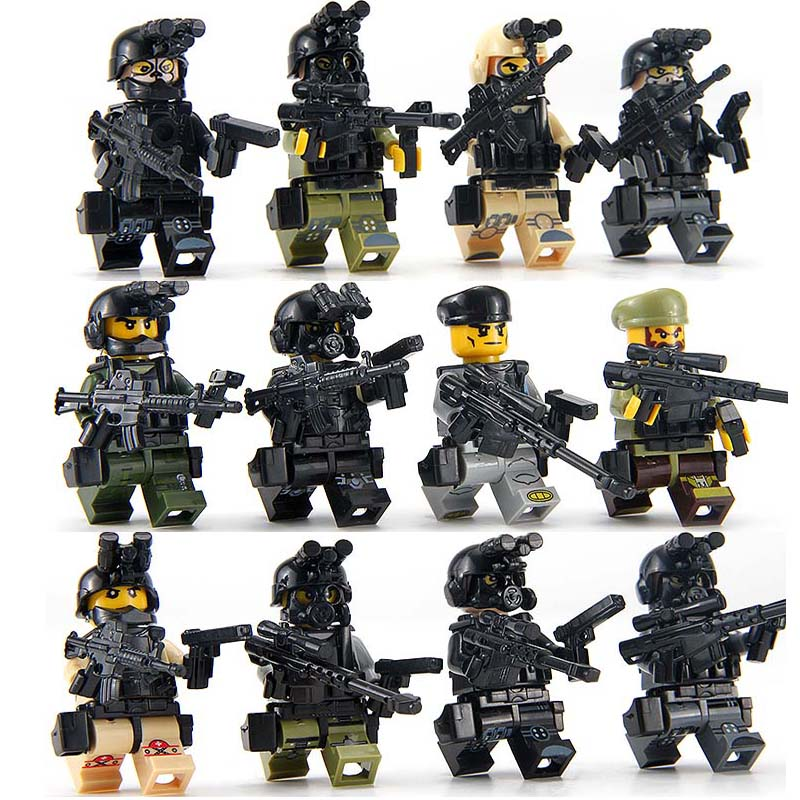 Toys & Hobbies Straightforward 12pcs/set Military Figures With Weapons Building Blocks Set Compatible Legoed Soldiers Ww2 Army Bricks Gift Toys For Children Bo Vivid And Great In Style