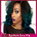 Top Quality 2016 New Design Ombre Sexy Hairstyle Synthetic Lace Front Wig Natural Body Wave Black To Dark Green For Black Women
