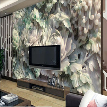 High-grade peony jade carving background wall painting