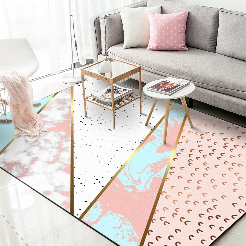 Modern Metal Golden Striped Carpets And Rugs Pink Abstract Geometric Living Room Bedroom Home Decor Area Non Slip Floor Mat Carpet Tiles Design