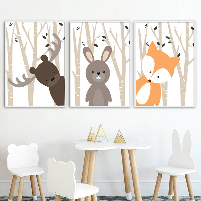 Cartoon Forest Deer Rabbit Fox Nordic Posters Wall Art