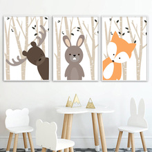 Cartoon Forest Deer Rabbit Fox Nordic Posters And Prints Wall Art Canvas Painting Nursery Pictures Baby Girl Boy Room Decor