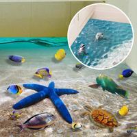 DIY Cartoon Beach 3D Wall Stickers Starfish Footprint Bathroom Floor Sticker Sea Vinilos Paredes Kids Poster