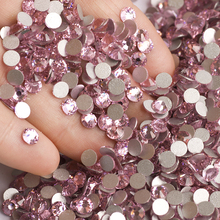 2028NoHF Light Rose Color Strass All Sizes SS3,4,5,6,8,10,12,16,20,30,34 Non Hotfix Glue on Nails Crystal Rhinestones Flatback