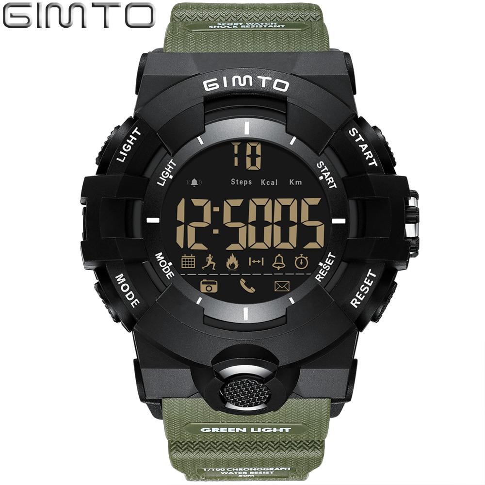 GIMTO Electronic LED Digital Watch Men Bluetooth Sport Smart Watch Pedometer Military Stopwatch Alarm Male Clock Bayan Kol Saati цена и фото