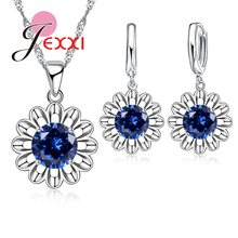 Geometric 925 Sterling Silver Fashion Jewelry Set Beautiful Crystal Stone Sun Flower Pendant Necklace Earrings Party Accessories(China)