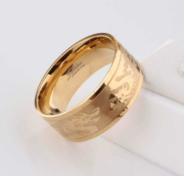 Fashion Accessories Stainless Steel Ring Golden Color Dargon Women
