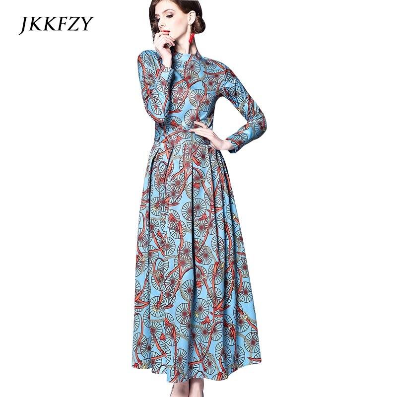 Новый Для женщин Стенд воротник цепи печати одежда с длинным рукавом платье LuxuryLadies взлетно посадочной полосы дизайн Винтаж Vestidso Платья для вечеринок