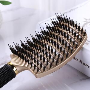 Image 4 - Cheveux cuir chevelu Massage peigne brosse à cheveux soies Nylon femmes humide bouclés démêler brosse à cheveux pour Salon de coiffure outils de coiffure