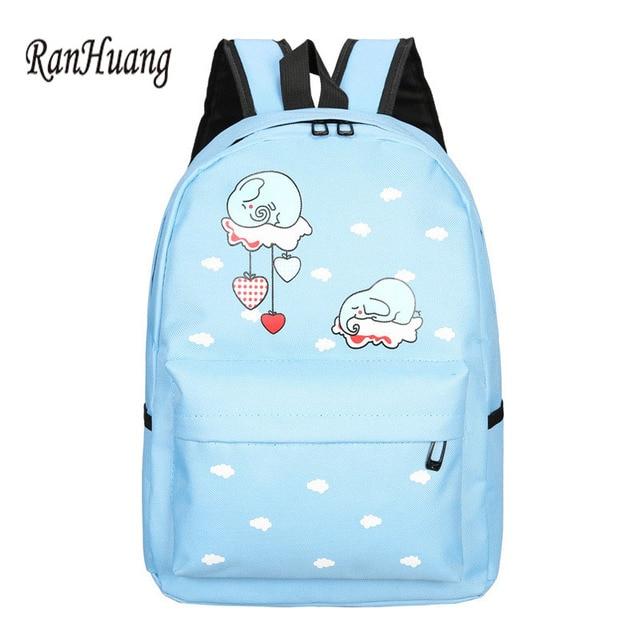 96513ee1edc5 RanHuang Women Canvas Backpack Cartoon Elephant Printing Backpack Cute  School Bags For Teenage Girls Pink Blue