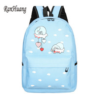 RanHuang Women Canvas Backpack Cartoon Elephant Printing Backpack Cute School Bags For Teenage Girls Pink Blue