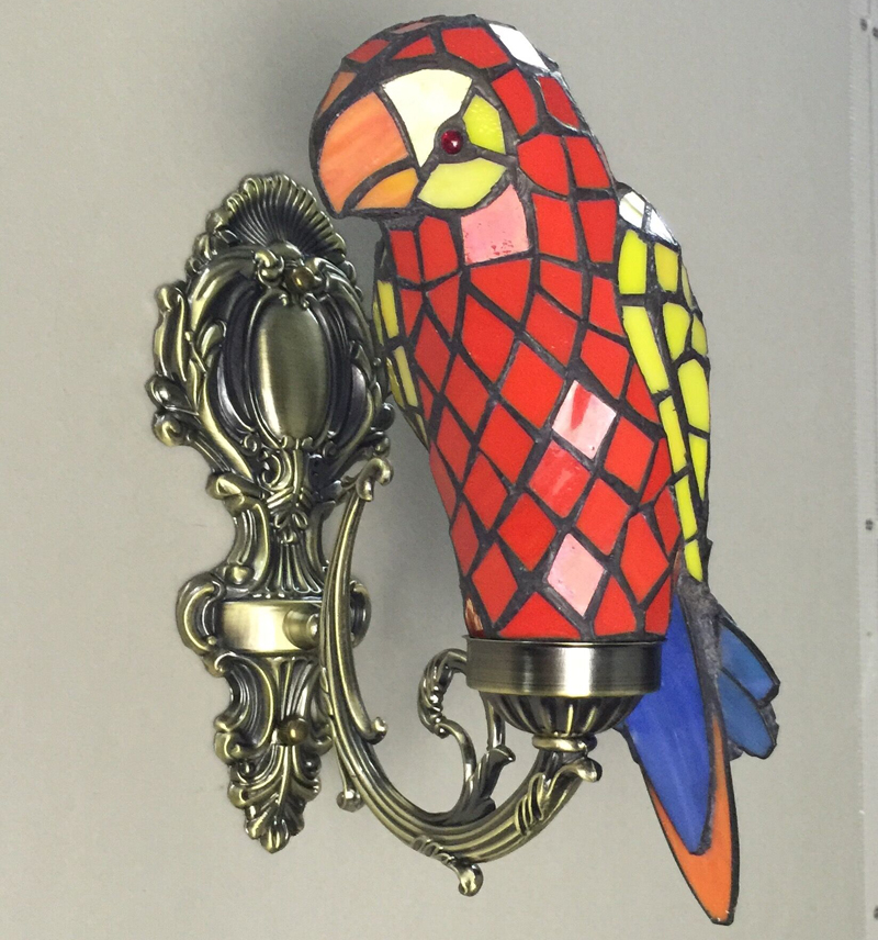 Macaw bird tiffany wall lamp stained glass wall mounted accent lamp for foyer novelty light fixture unique home decor lighting the ivory white european super suction wall mounted gate unique smoke door