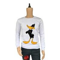 True Reveler cartoon hoodies Looney Tunes Daffy Duck men hoodie hip hop tops cute funny black duck sweatshirts male blouse