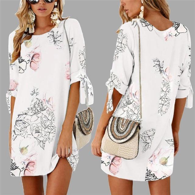 f8d08c73c59 Fashion summer dress 2018 beach dress Women Summer Half Sleeve Bow Bandage  Floral Striaght Casual Short ...
