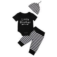 Infant Newborn Baby Boy Clothes Black Short Sleeve Letter Top Bodysuit Stripe Pants Leggings Hat Outfits Clothes 0-18M 3pcs Set
