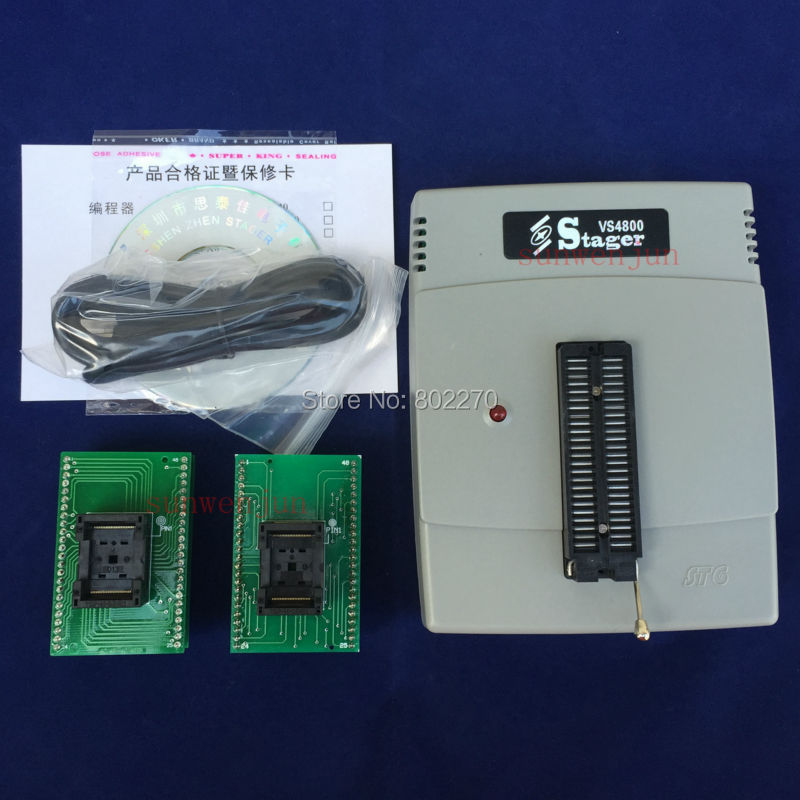 VSpeed VS4800 USB Universal Programmer Bios GAL EPROM FLASH 51 AVR PIC MCU SPI with 48pin ZIF socket + tsop48 adapter kit vs4800 usb universal programmer for bios gal eprom flash 51 avr pic mcu spi with 48pin zif socket support 15000 ic 4 adapters