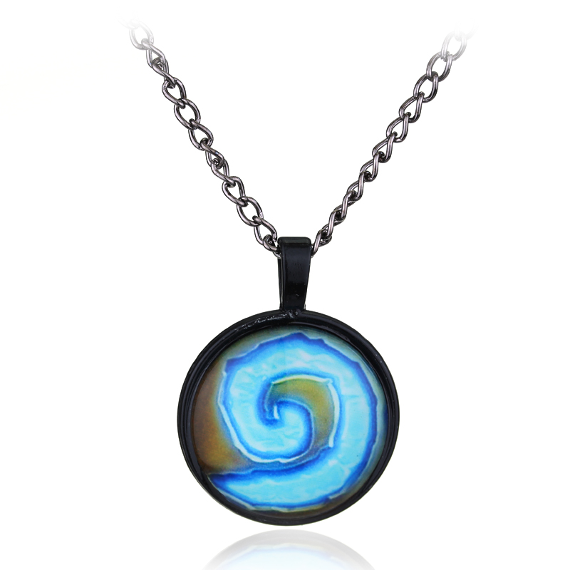 Hearthstone Heroes of War Craft Logo Charm Game Jewelry Glass Done Pendants Necklace Cosplay Gift For Fans Jewelry Free Shipping