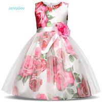 JaneyGao Flower Girl Dresses For Wedding Party 2019 New Kids Princess Dress Tulle Sleeveles Print Formal Gown Little Girl Dress