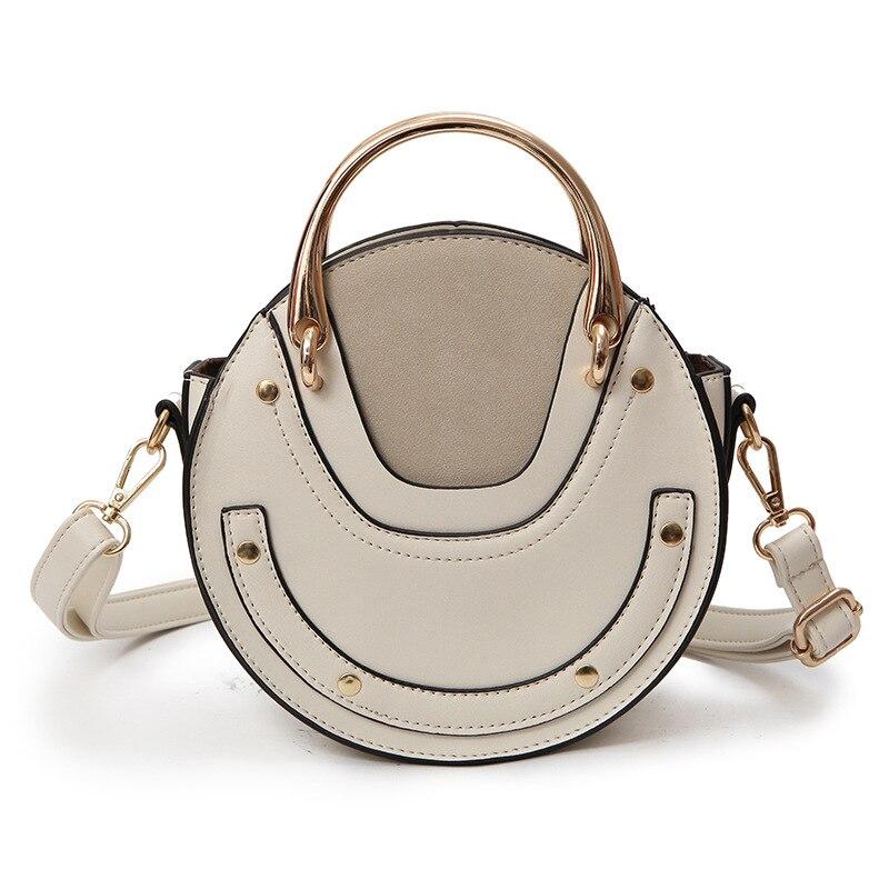 Женская сумка, женские сумки, новинка 2019, круглая сумка с металлической ручкой, через плечо, портативная маленькая сумка, Bolsa Feminina