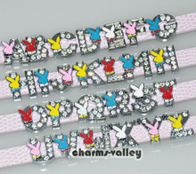 130PCS 8MM Insert Rabbit Rhinestone Slide Letters Collar Charms Fit 8mm Wristband Pet Dog Name CollarsKeychain