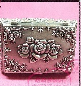 Beautiful tibet silver carved Love Rose lady jewelry box