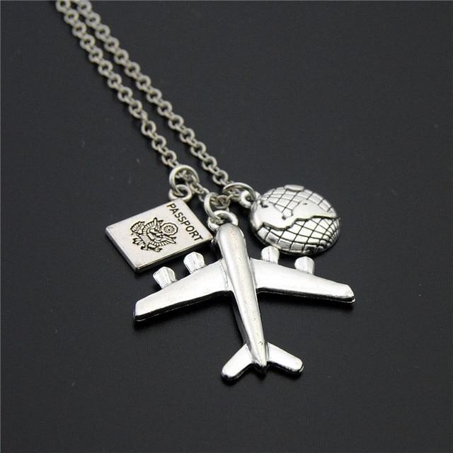 1pc 2018 Wanderlust Passport Earth Airplane Necklaces & Pendants Silver Travling