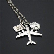 1pc 2019 Wanderlust Passport Earth Airplane Necklaces & Pendants Silver Travling Handmade Jewelry E1020