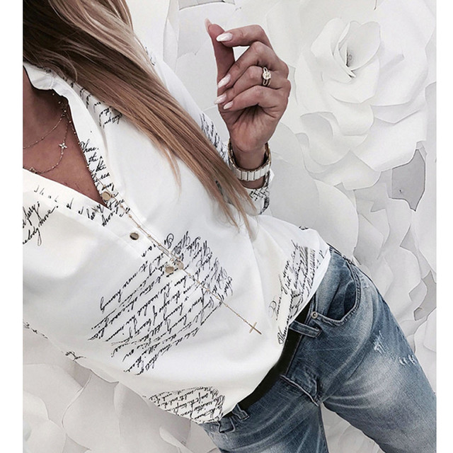 Plain Vogue Letters White Casual Long Sleeve V-Neck Button Blouse