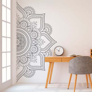 Half Mandala Wall Decal Sticker for Bedroom Modern Design Pattern Vinyl Art Self Adhesive