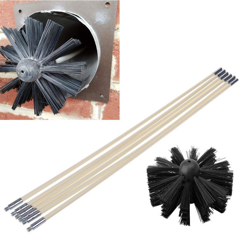 Cepillo de Nylon con 6 piezas de mango largo tubo Flexible de las varillas para chimenea tetera casa limpiador herramienta de limpieza de Kit de herramientas de mano