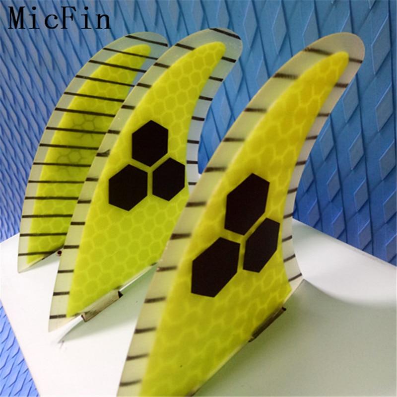 Micfin yellow Honeycomb Fins aletas de fibra de vidrio Tabla de surf Surf quilhas fcs pranchas de surf fcs fins