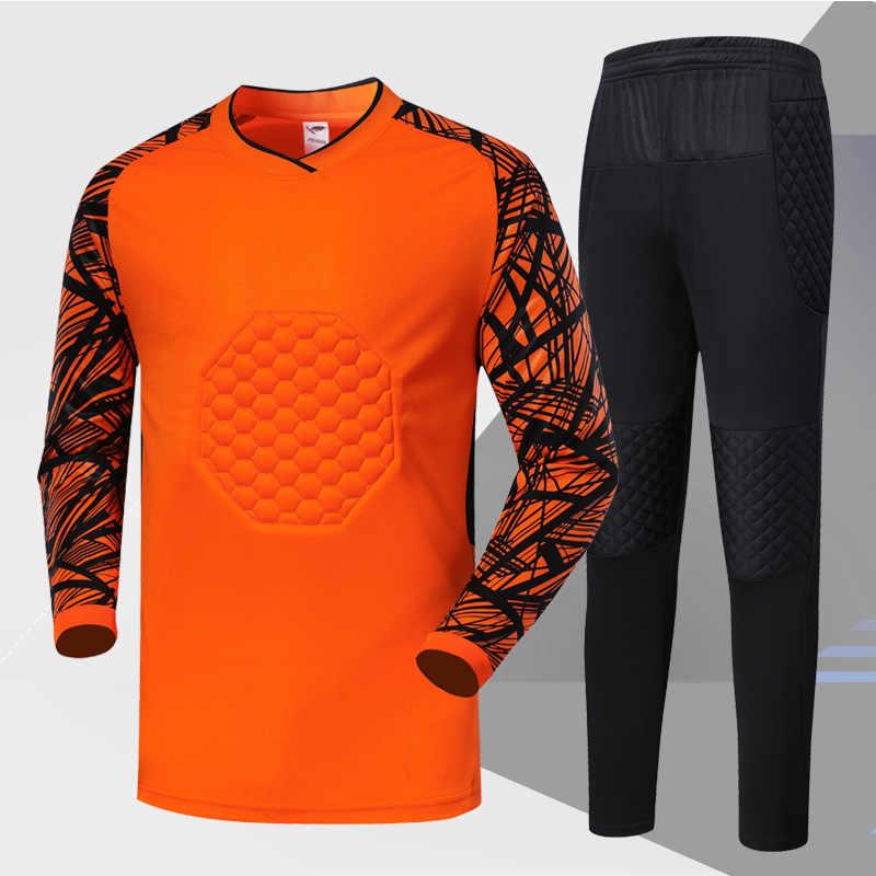 8b78f91bbc7 ... Soccer Goalkeeper Set Men Sports Kit Blank Sponge Survetement Football  Goalkeeper Training Suit Quick Dry Soccer ...