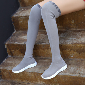 Image 5 - New designer mulheres botas altas da coxa magro longo botas mujer outono inverno sobre o joelho botas meia mulheres cunhas bota feminina y702