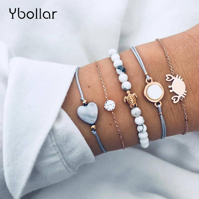 5pcs Set Punk Boho Crab Turtle Heart Crystal Chain Beaded Bracelet Set Multilayer Women Female Jewelry Gift in Charm Bracelets from Jewelry Accessories