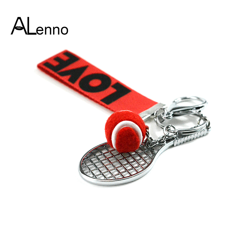 ALenno 6Color Zinc Alloy Tennis Keychain For Car Bags Key Trinket Casual Sporty Pendant  ...