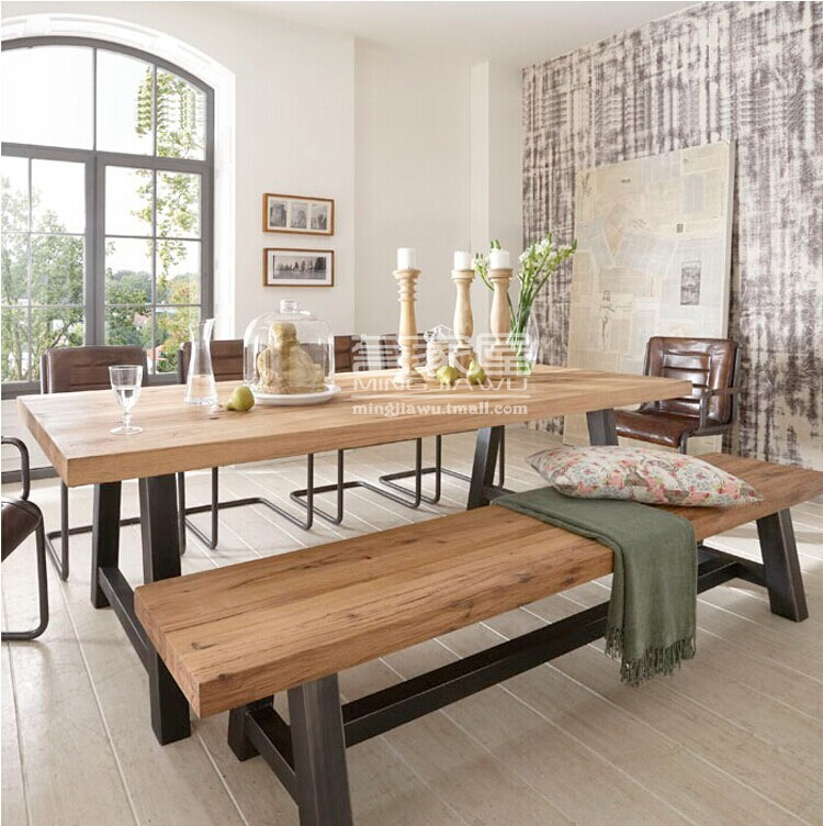 American Retro Dinette Combination Of Solid Wood Wrought Iron Dining Table Coffee Table Bar Table Desk Table Tenis Tables Table Geltable Video Aliekspress