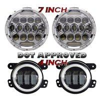 7 Inch 75W Projector Led Headlights With DRL Hi Lo Beam 2pcs 4 Inch Led Fog