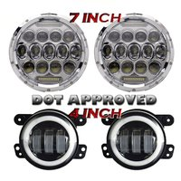 7 Inch 75W Projector Led Headlights With DRL Hi Lo Beam 2pcs 4 Inch Led Fog