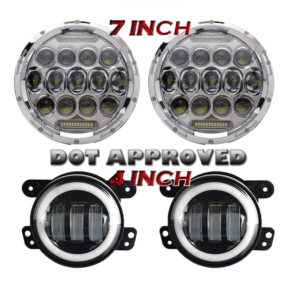 7 Inch 75W Projector Led Headlights With DRL Hi/lo Beam + 2pcs 4 Inch Led Fog Lamps White Halo Ring DRL For Jeep Wrangler JK 2pcs new design 7inch 78w hi lo beam headlamp 7 led headlight for wrangler round 78w led headlights with drl