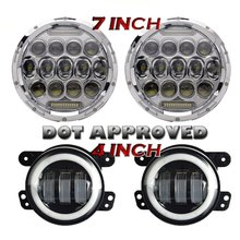 7 Inch 75W Projector Led Headlights With DRL Hi/lo Beam + 2pcs 4″ Inch Led Fog Lamps White Halo Ring DRL For Jeep Wrangler JK