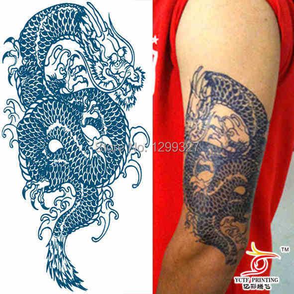 dragon tattoo temporaire grand bleu moitié bras de l'épaule faux