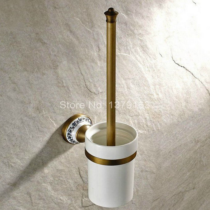 Vintage Retro Antique Brass Wall Mounted Toilet Brush & Holder Set White Brush Ceramic Cup Bathroom Accessory aba406