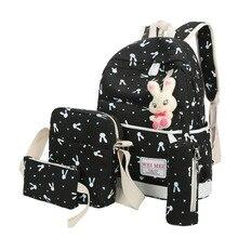 Kids Bunny Patterned Backpack 4 Pcs Set