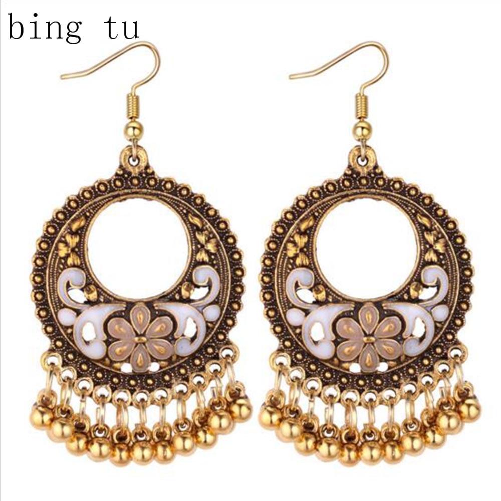 Bing Tu Retro Earrings For Women Indian Jewelry Ethnic Antique Silver Color Flower Beads Drop Earring Female Long Earings Jhumka Buy One Give One Jewelry & Accessories Earrings