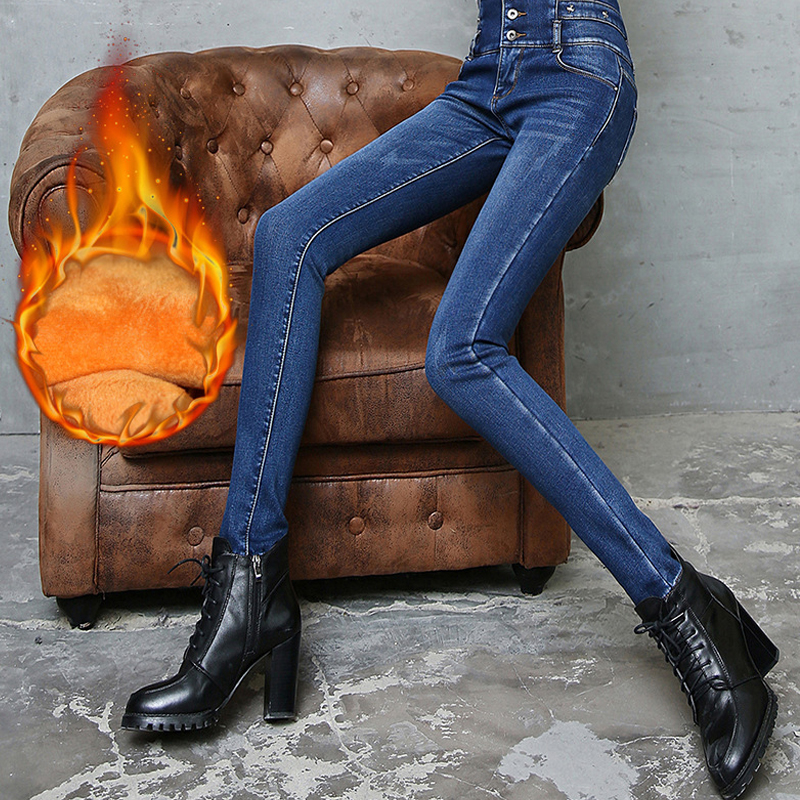 Women Winter Thick Velvet Jeans Trousers Ladies Stretch High Waist Pencil Pants Skinny Sexy Female Washed Denim Blue Mom Jeans